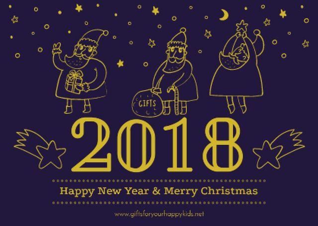 Designvorlage Merry Christmas Greeting with Santas für Card