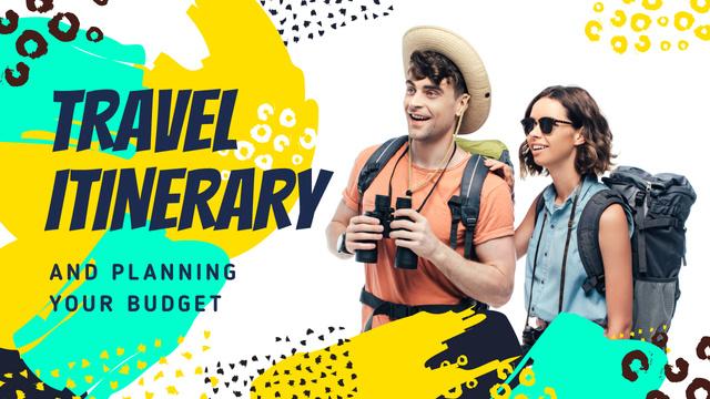 Travel Tips Couple with Backpacks Youtube Thumbnail Modelo de Design