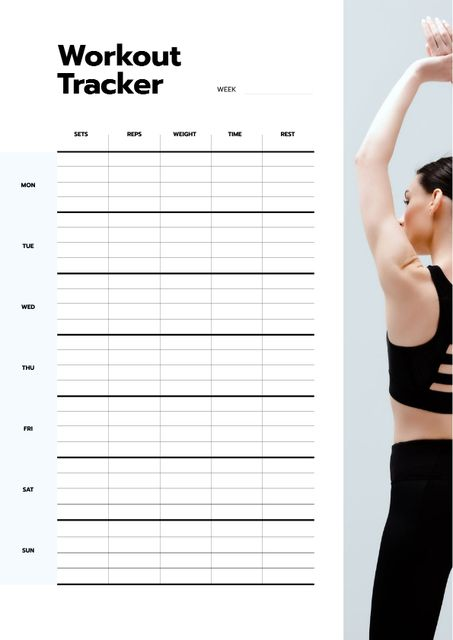 Workout Tracker with Woman exercising Schedule Planner Design Template