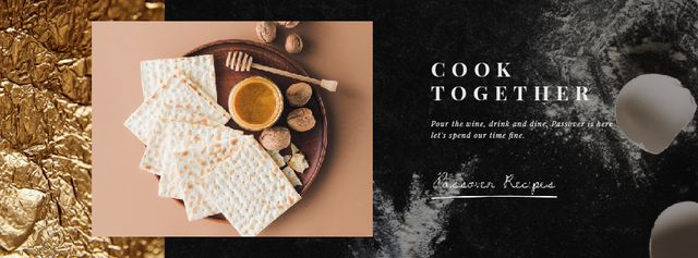 Happy Passover Unleavened Bread and Honey Facebook Video cover Tasarım Şablonu
