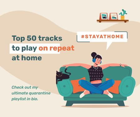 Plantilla de diseño de #StayAtHome Woman listening music on sofa with cat Facebook