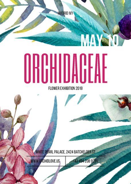 Orchid flowers exhibition announcement Invitation – шаблон для дизайна