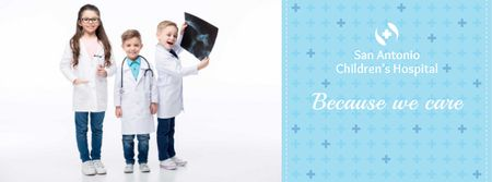 Children's hospital with kids in doctor's costumes Facebook cover Modelo de Design