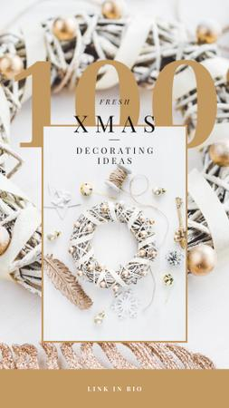 Ontwerpsjabloon van Instagram Story van Decorating Ideas with Shiny Christmas wreath