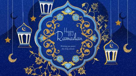Modèle de visuel Ramadan Kareem Blue Floral frame - Full HD video