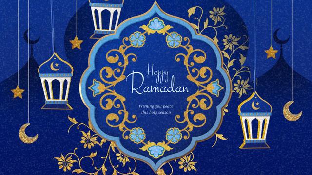 Modèle de visuel Ramadan Kareem Blue Floral frame - Full HD video