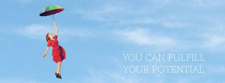 Designvorlage Motivational Quote Woman Flying on an Umbrella für Facebook Video cover