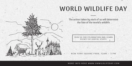 Ontwerpsjabloon van Image van World Wildlife Day Event Announcement Nature Drawing