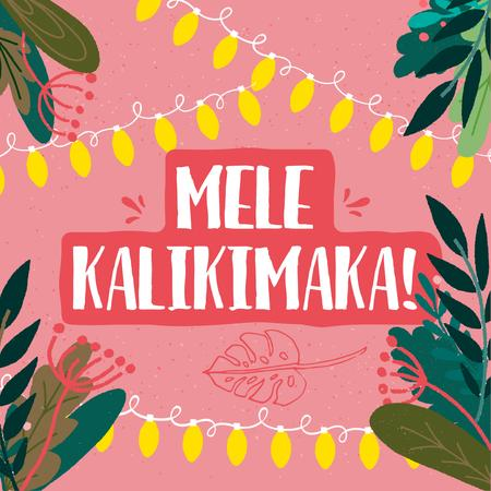 Mele Kalikimaka greeting in jungle frame Instagramデザインテンプレート