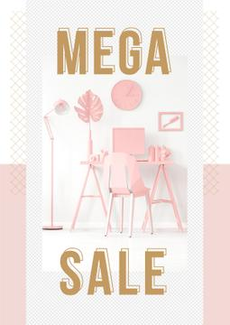 Sale Announcement with Computer on Working Table in Pink