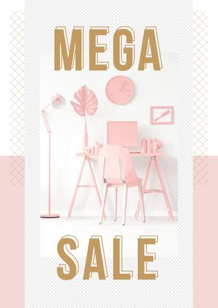 Sale Announcement with Computer on Working Table in Pink Poster Tasarım Şablonu
