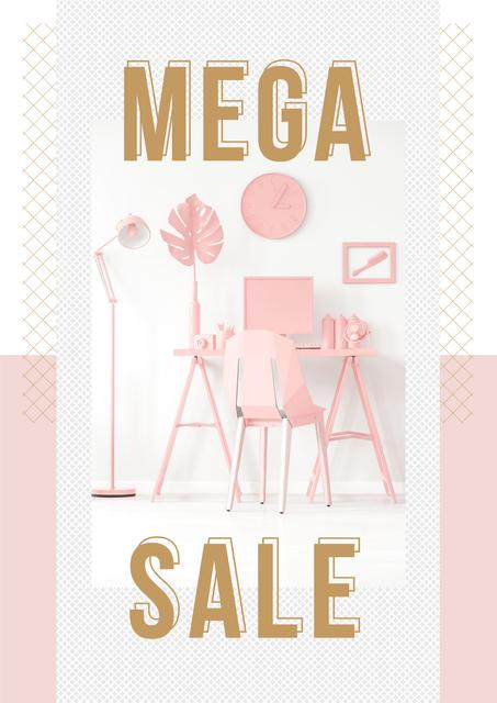 Sale Announcement with Computer on Working Table in Pink Poster – шаблон для дизайну