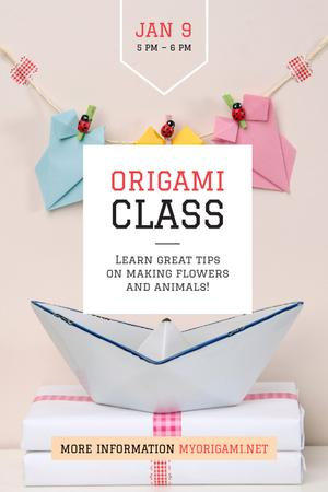Plantilla de diseño de Origami Classes Invitation Paper Garland Tumblr