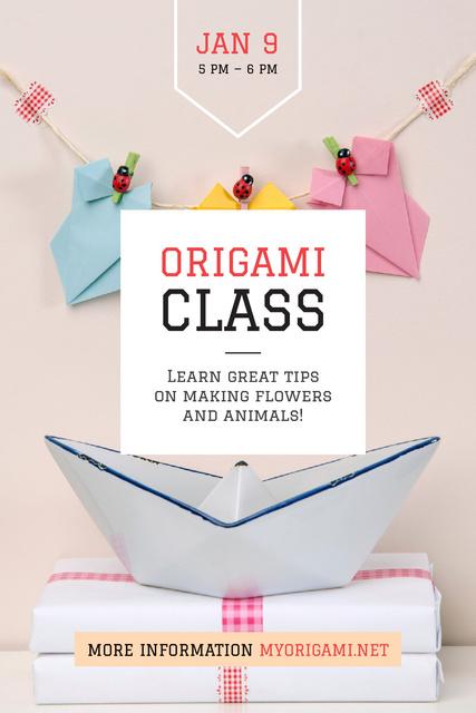 Plantilla de diseño de Origami Classes Invitation Paper Garland Tumblr
