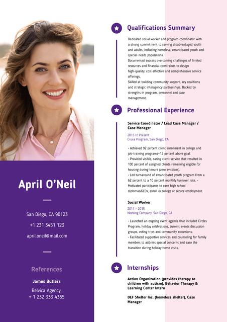 Social worker and program coordinator skills and experience Resume – шаблон для дизайну