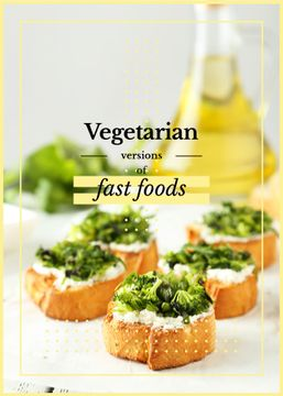 Vegetarian Food Recipes Bread with Broccoli | Flyer Template