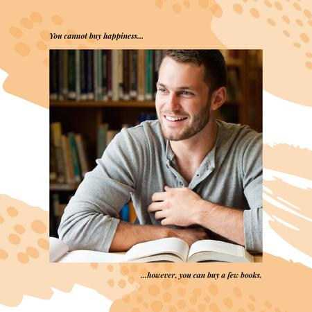 Modèle de visuel Books Quote Student studying in Library - Instagram AD