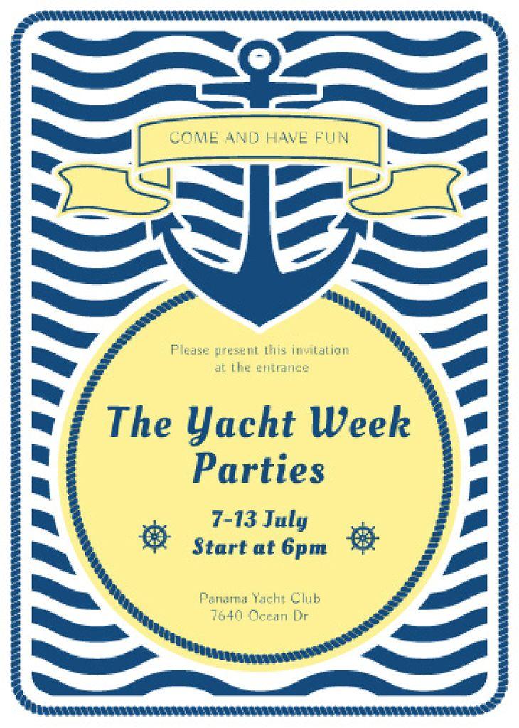 Yacht Party advertisement with blue stripes — Crea un design