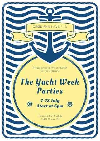 Yacht Party advertisement with blue stripes Invitation – шаблон для дизайну