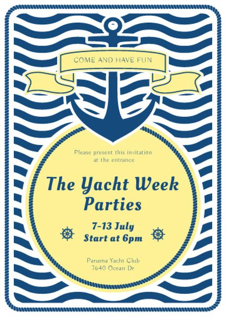 Ontwerpsjabloon van Invitation van Yacht Party advertisement with blue stripes