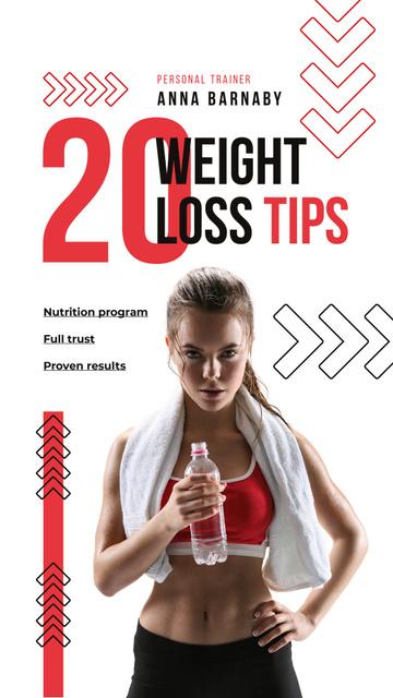 Weight Loss Program Ad with Fit Woman Instagram Story Tasarım Şablonu