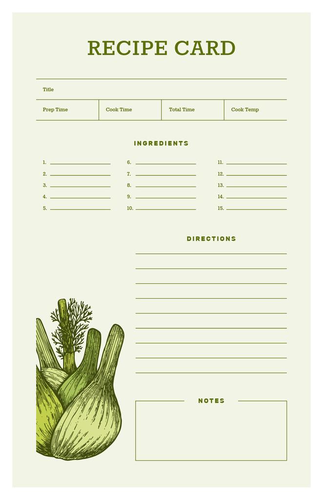 Plantilla de diseño de Green Onion illustration Recipe Card
