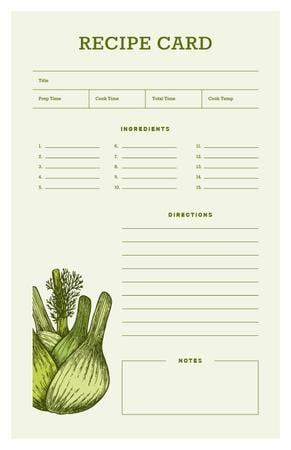 Template di design Green Onion illustration Recipe Card