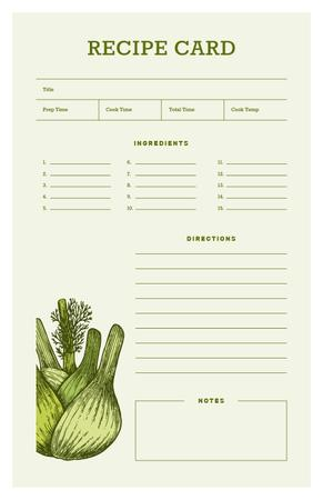 Plantilla de diseño de Green Onion illustration Recipe Card