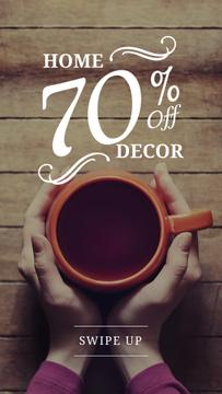 Decor Sale with hands holding Cup
