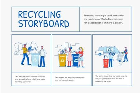 Plantilla de diseño de People using Recycling services Storyboard
