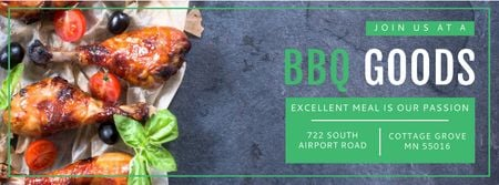 Plantilla de diseño de BBQ Food Offer with Grilled Chicken Facebook cover