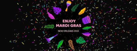 Plantilla de diseño de Mardi Gras carnival attributes Facebook Video cover
