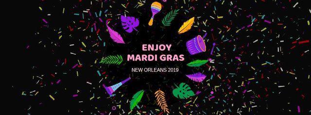 Mardi Gras carnival attributes Facebook Video cover – шаблон для дизайну