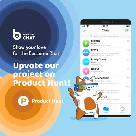 Product Hunt Campaign Chats Page on Screen Animated Postデザインテンプレート