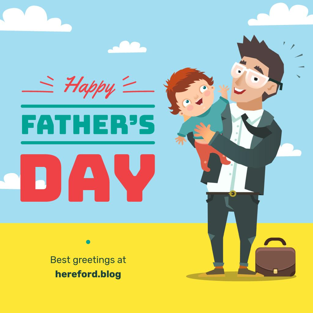 Father holding child on Father's Day Instagramデザインテンプレート