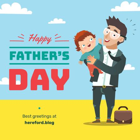 Father holding child on Father's Day Instagram Tasarım Şablonu