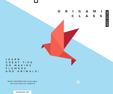 Origami Classes Invitation Bird Paper Figure Large Rectangle Modelo de Design