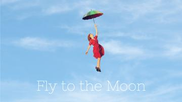 Motivational Quote Woman Flying on an Umbrella | Full Hd Video Template