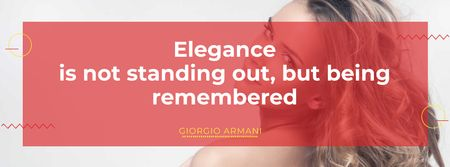 Designvorlage Elegance Quote with Beautiful Young Woman für Facebook cover