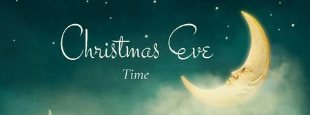 Modèle de visuel Christmas Eve with Sleeping Moon - Facebook cover