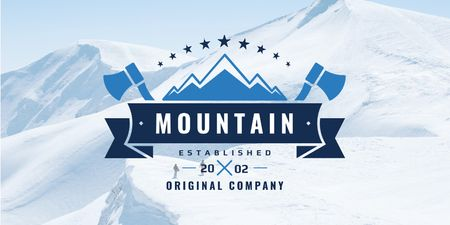 Plantilla de diseño de Mountains Icon with axes Twitter