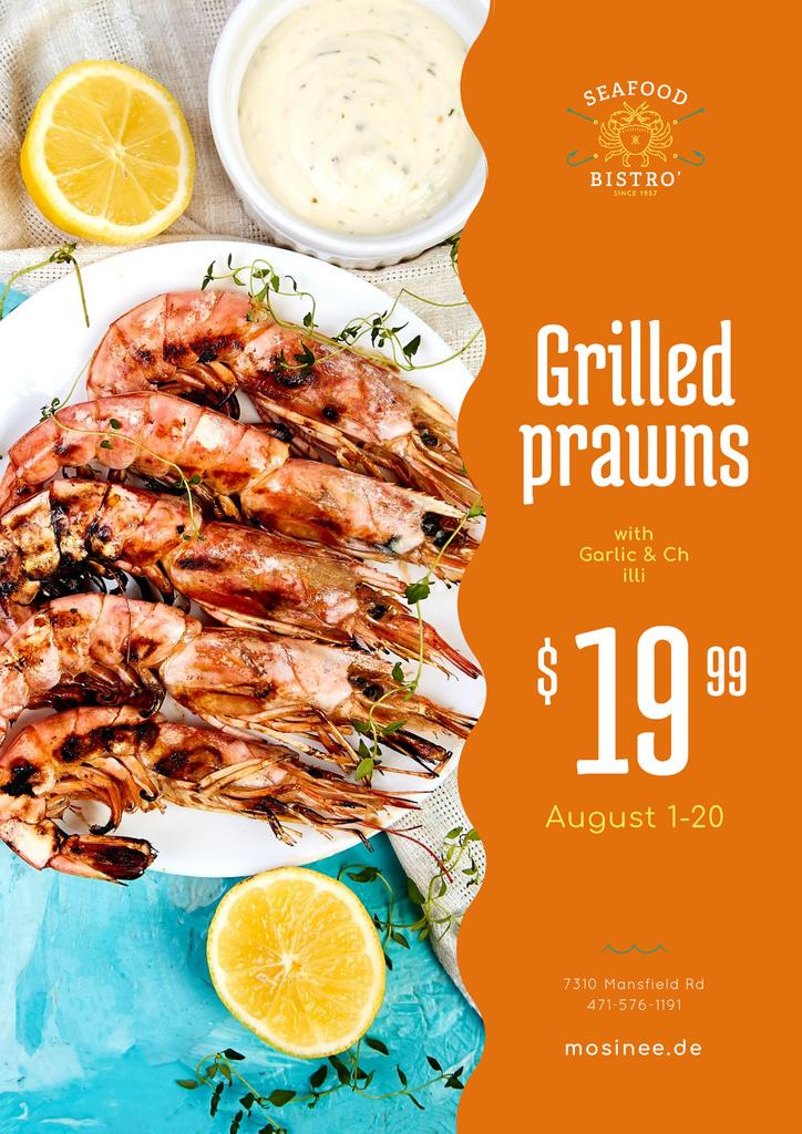 Seafood Menu Offer with Prawns with Sauce — Crear un diseño