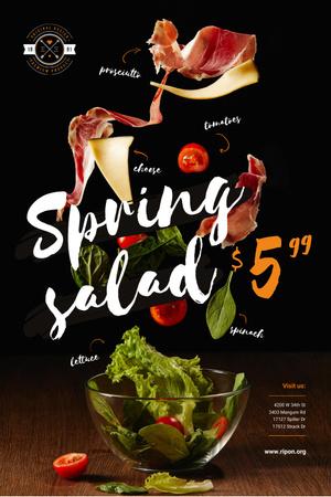 Spring Menu Offer with Salad Falling in Bowl Pinterest Modelo de Design