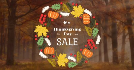 Plantilla de diseño de Thanksgiving Sale Offer in Autumn Wreath Facebook AD