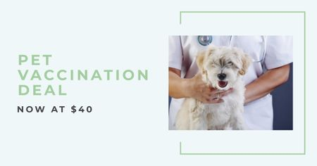 Pet Vaccination Offer with Dog in Hospital Facebook ADデザインテンプレート