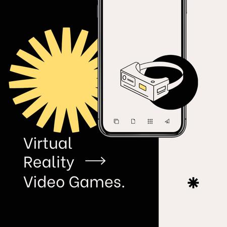 Ontwerpsjabloon van Animated Post van Virtual Reality Games Ad with glasses