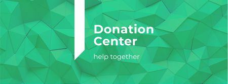 Donation Center Ad on Green Abstract Pattern Facebook cover Design Template