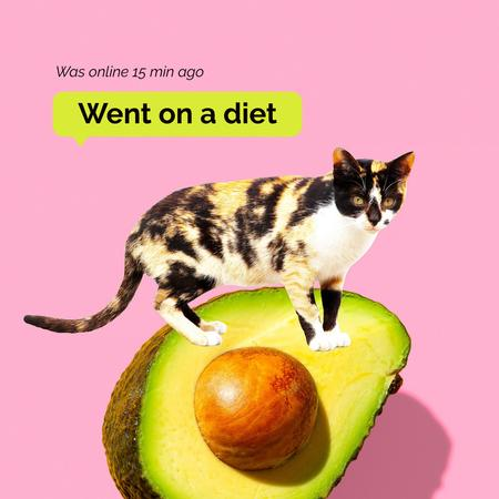 Plantilla de diseño de Funny Illustration of Cat sitting on Huge Avocado Instagram