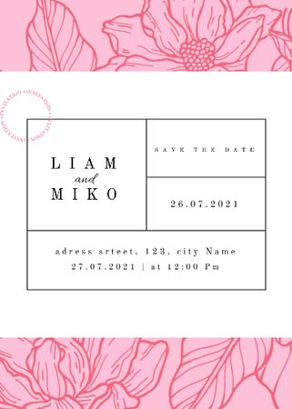 Template di design Wedding Announcement with Pink Flowers Illustration Invitation