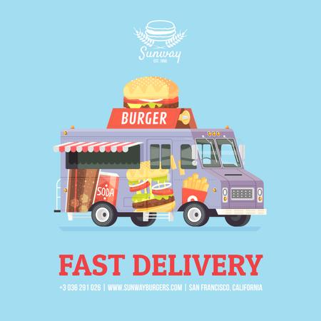 Food Delivery Van with Burger Instagram AD Tasarım Şablonu